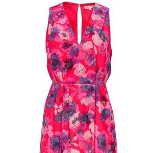 Rebecca Taylor Silk Floral Pink Sleeveless Dress